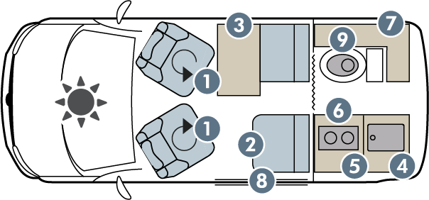 Danbury Active 4 seat day floorplan